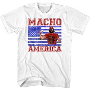 Macho Man Randy Savage American Hero Flag Stars Stripes Men/'s T Shirt Wrestling